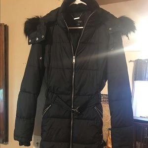 brand new Black winter coat with fur hood & belt